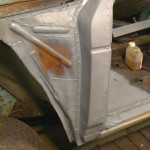 Passenger inner wing patched and primed with Zinc 182